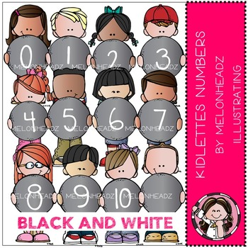 Kidlette Numbers by Melonheadz BLACK AND WHITE