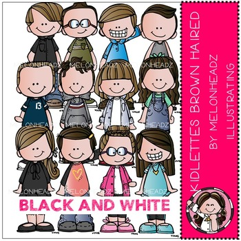 Kidlettes Brown Haired by Melonheadz BLACK AND WHITE