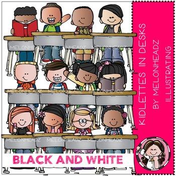 Kidlettes in Desks by Melonheadz BLACK AND WHITE