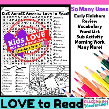 Kids Across America Love to Read: Word Search: Fun for Rea