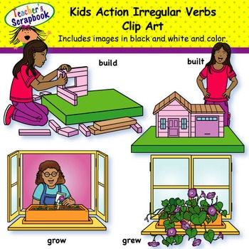 Kids Action Irregular Verbs Clip Art