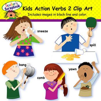 Kids Action Verbs 2 Clip Art