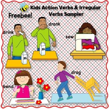 Kids Action Verbs & Irregular Verbs Clip Art SAMPLER