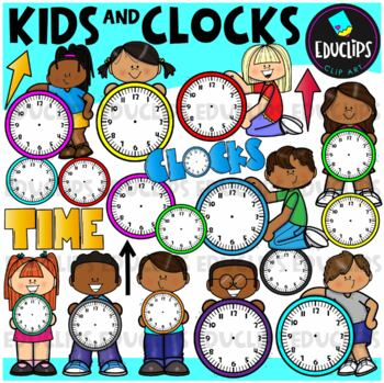 Kids And Clocks Clip Art Bundle {Educlips Clipart}