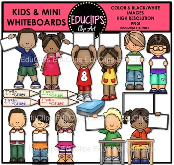 Kids And Mini Whiteboards Clip Art Bundle