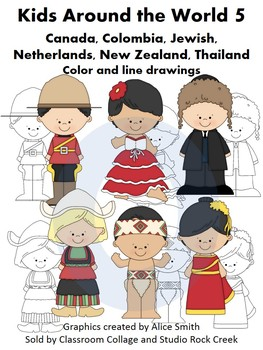 Kids Around the World Set 5 Color and line drawings clip a