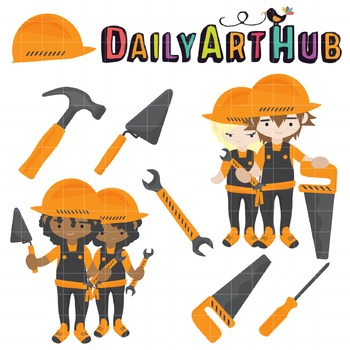 Kids At Work Clip Art - Great for Art Class Projects!