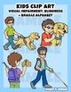 Kids Clip art: Visual impairment or Blindness + Braille al