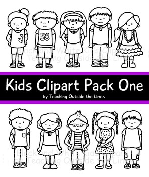 Kids Clip Art Pack One Black & White