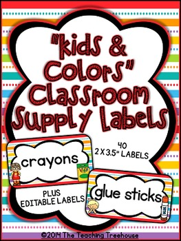 """""""Kids & Colors"""" Classroom Supply Labels"""