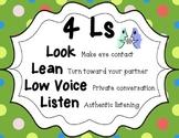Artsy Teacher Cafe -  4 Ls: Look, Lean, Low Voice, Listen POSTER