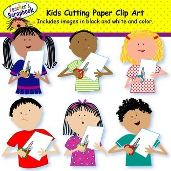 Kids Cutting Paper Clip Art