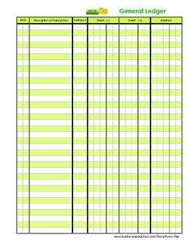 Kids General Ledger Accounting Finance Journal Log Green C