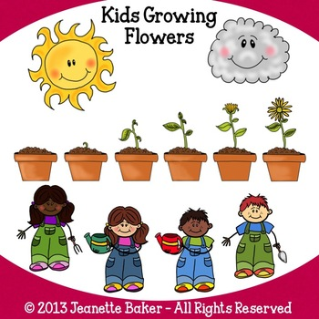 Kids Growing Flowers Clip Art by Jeanette Baker