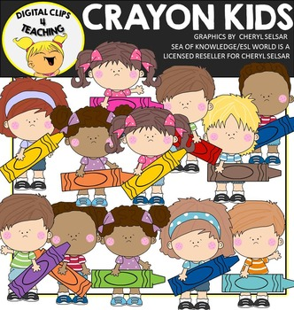 Kids Holding Crayons Clipart