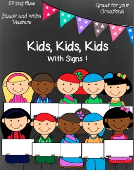Kids, Kids, Kids (with Signs:)- 57 png Images~