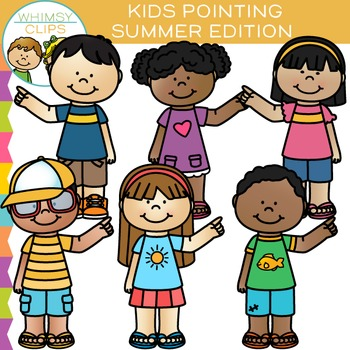 Kids Pointing Summer Clip Art