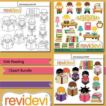 Kids Reading clip art bundle (3 packs)