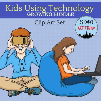 Kids Using Technology - Clip Art Set