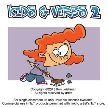 Kids & Verbs Cartoon Clipart Vol. 2