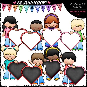 Kids With Blank Heart Boards Clip Art - Valentine's Day Cl
