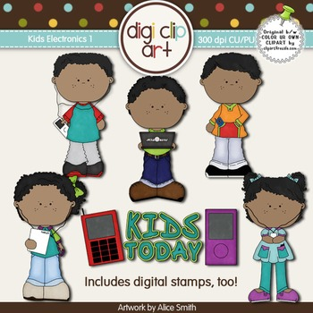 Kids With Electronics 2 -  Digi Clip Art/Digital Stamps -