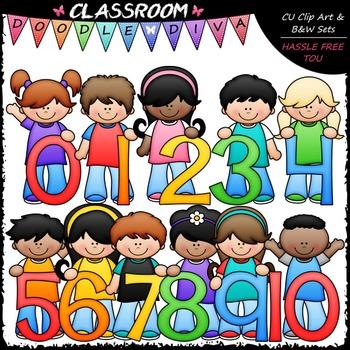 Kids With Math Numbers (0-10) Clip Art - Math Clip Art