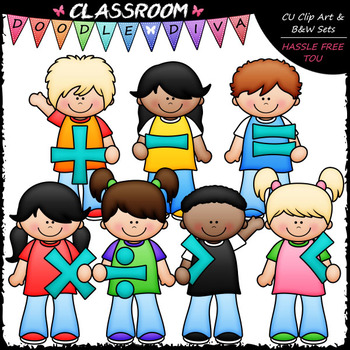 Kids With Math Symbols Clip Art - Math Clip Art