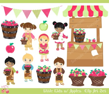 Kids and Apples Picking Apples Clipart Set