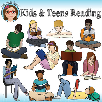 Kids and Teens Reading Clip Art