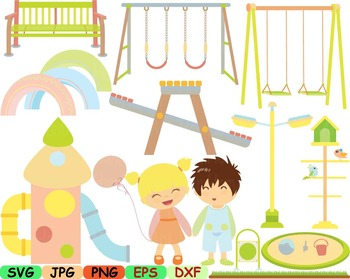 Kids at park clipart svg Playground play school playing Ou
