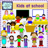 Kids at school in different situations CLIPART