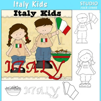 Italy Kids color and line drawings clip art C. Seslar