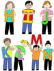 Kids in Action:  Uppercase Letter Kids Clip Art  52 PNGs