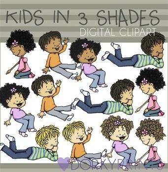 Kids in Three Shades Digital Clip Art