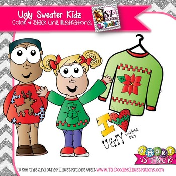 Kids in Ugly Sweaters Clip Art