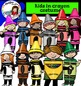 Kids in crayon costumes clip art-color and B&W-