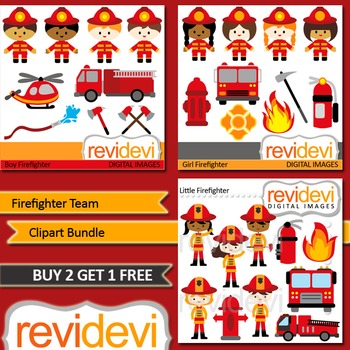 Kids in firefighter costumes clip art (3 packs)