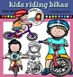 Kids riding bikes- color and B&W