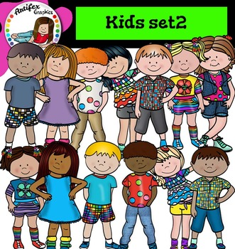 Kids set2 clip art- Color and B&W
