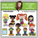 Kids with Notepads Clip Art Set