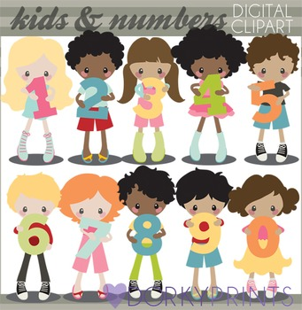 Kids with Numbers Clip Art
