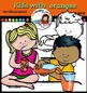Kids with Oranges clip art set- Color and B&W- 24 items!