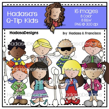 Kids with Q-tips Clip Art Set