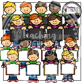 Kids with Signs Clipart Bundle