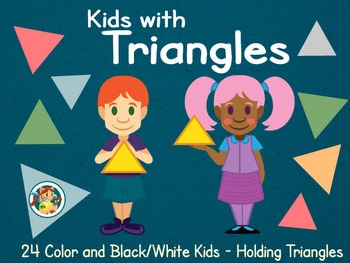 Kids with Triangles Cliparts
