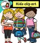 Kids with backpacks and books - Color and B&W-