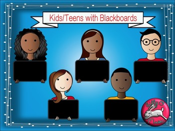 Teens with Chalkboards Clip Art