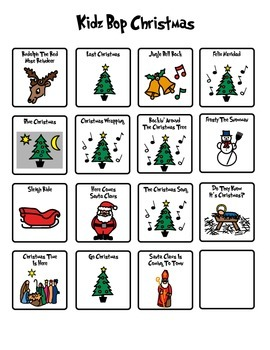 Kidz Bop Christmas BoardMaker Choices