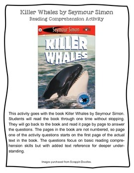 Killer Whales by Seymour Simon Informational Text Nonficti